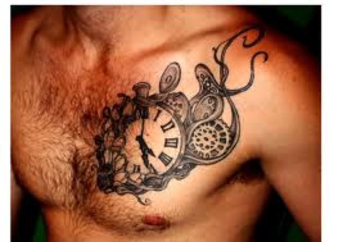 Clock tattoo with gears.