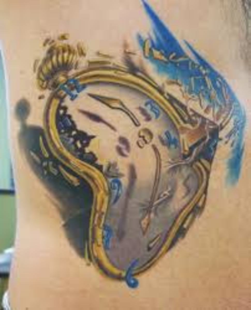 Melting clock tattoo.