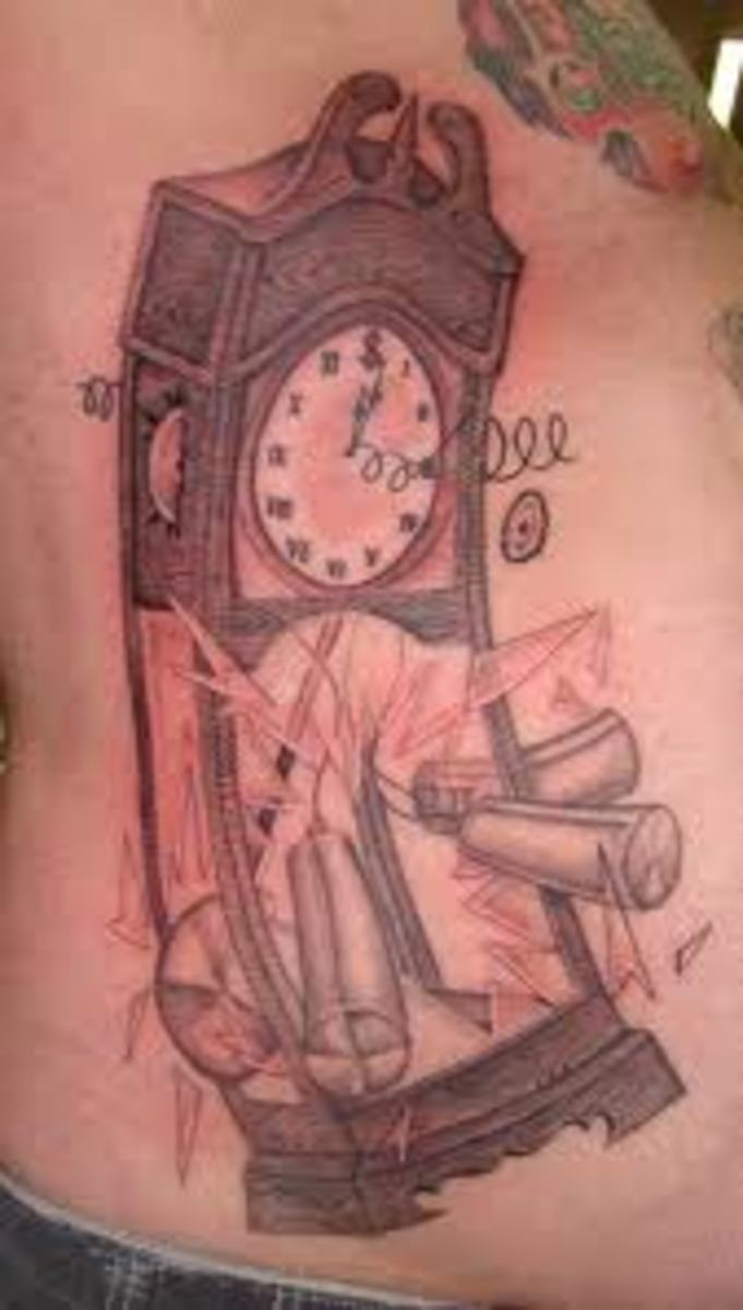 Exploding grandfather clock tattoo.