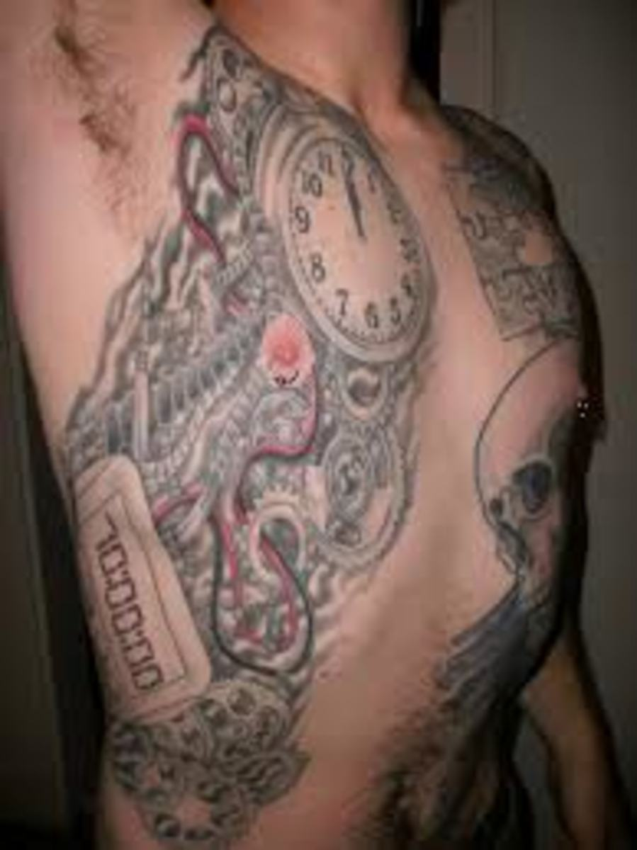 A clock incorporated into a bomb-like tattoo with wires and a digital readout.