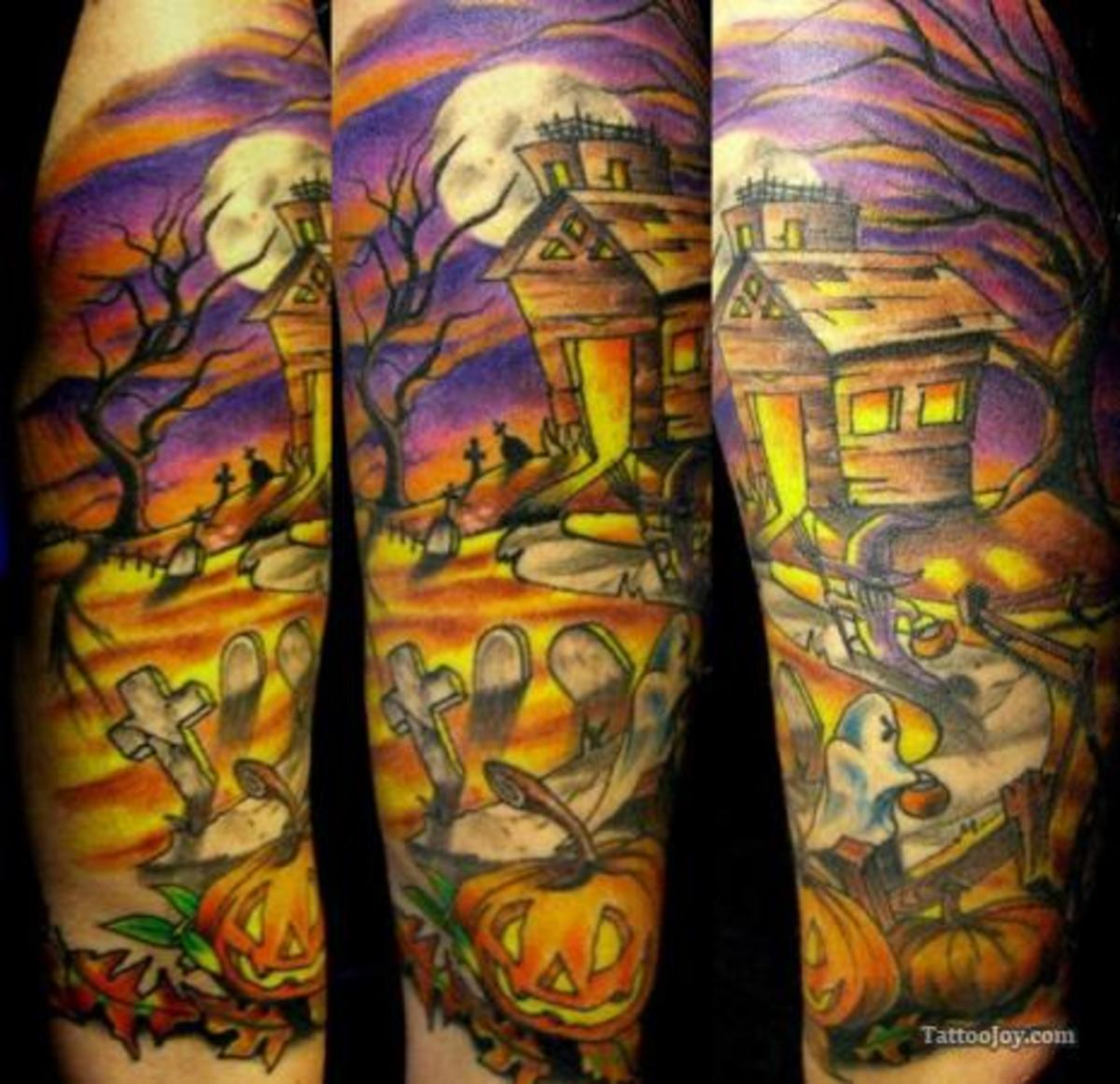 Haunted house tattoo.