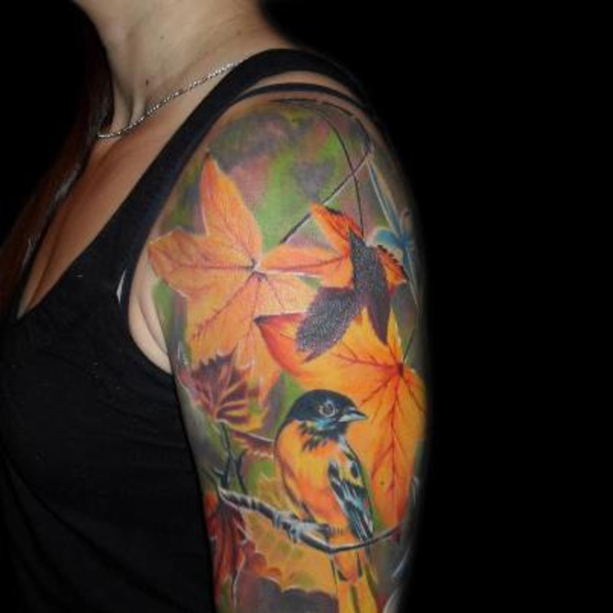 Leaves on the shoulder.