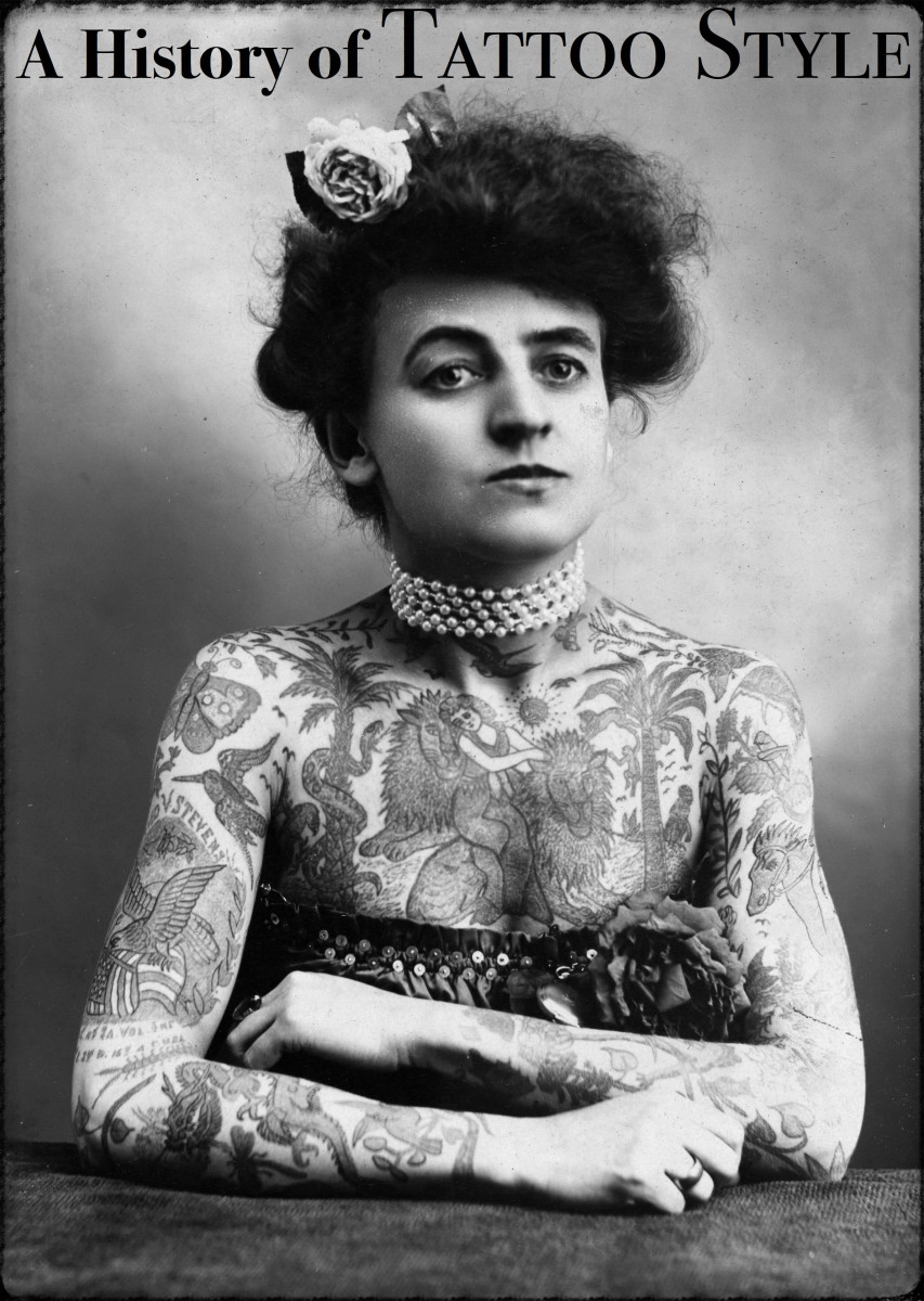 "Mrs. Maud Stevens Wagner, photographed in 1907. Wagner was a contortionist who worked with several circuses and learned how to make traditional ""hand-poke"" tattoos."