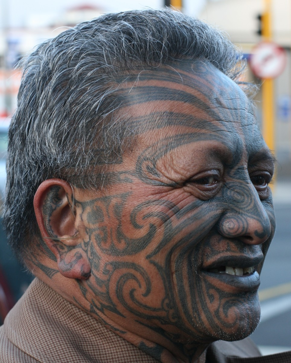 Maori activist Tame Iti, photographed in 2009 in Wellington, New Zealand. Full-face tattoos such as this convey information about social rank as well as skills and achievements.