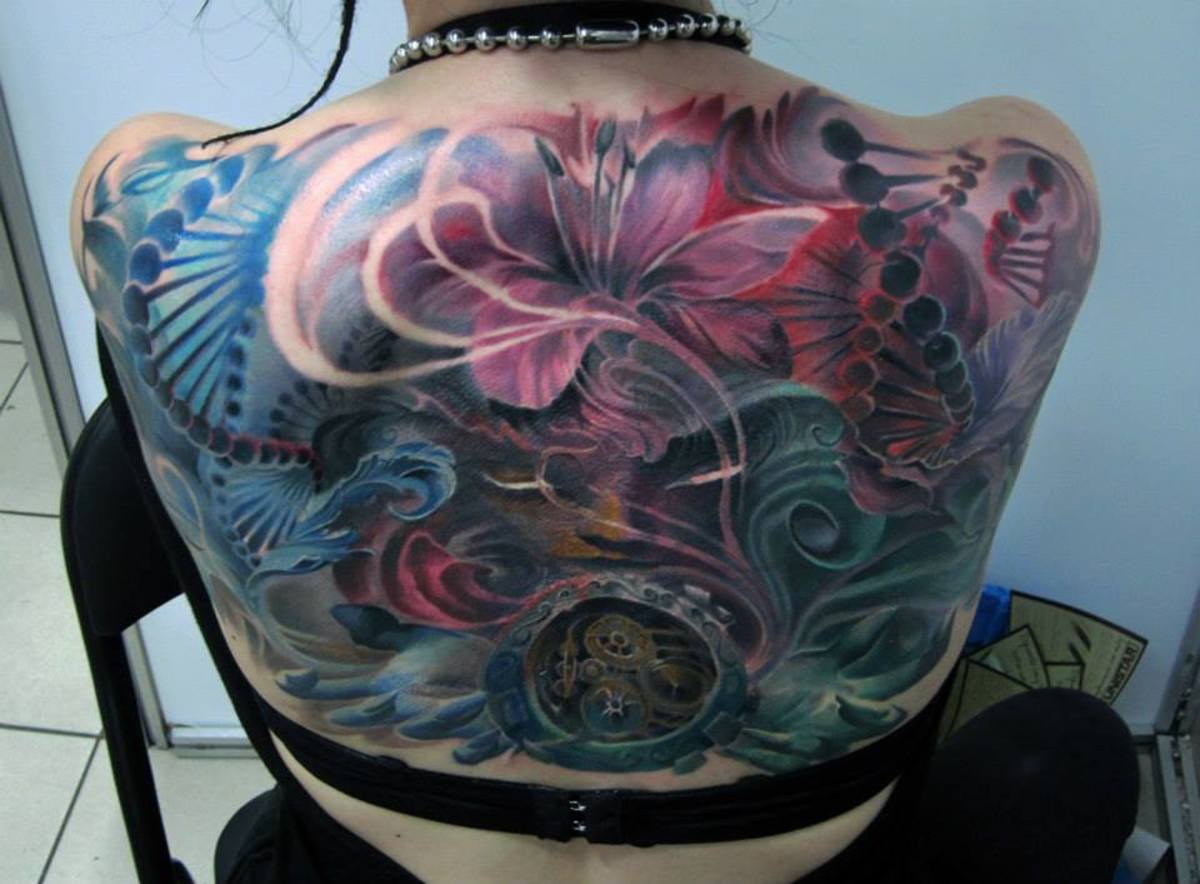 Back tattoo on women
