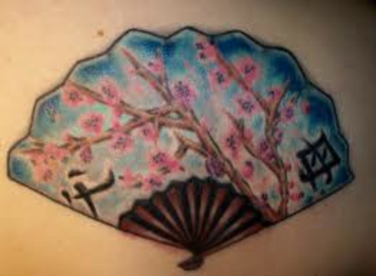Oriental Fan Tattoos And Designs-Oriental Fan Tattoo Meanings And Ideas-Oriental Fan Tattoo Pictures