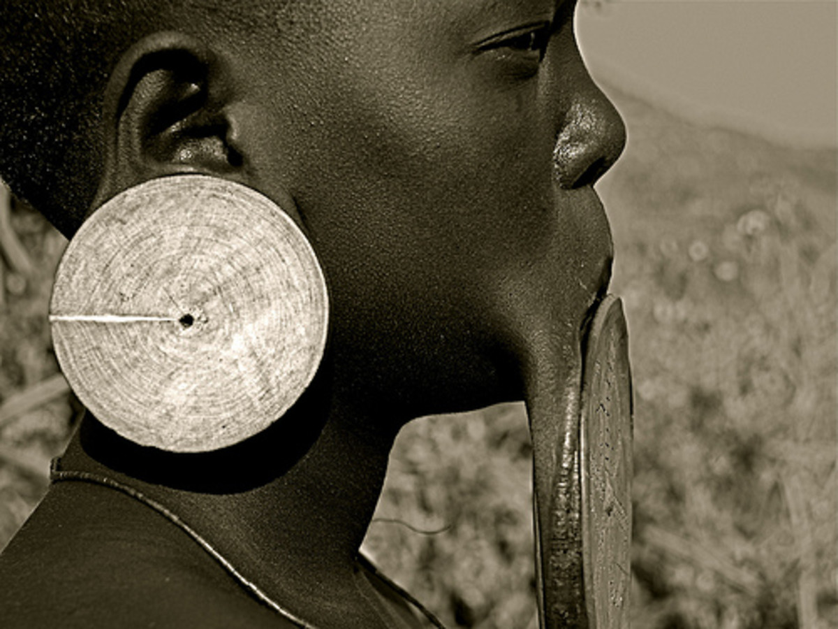 Gauged earlobe and lip plates.