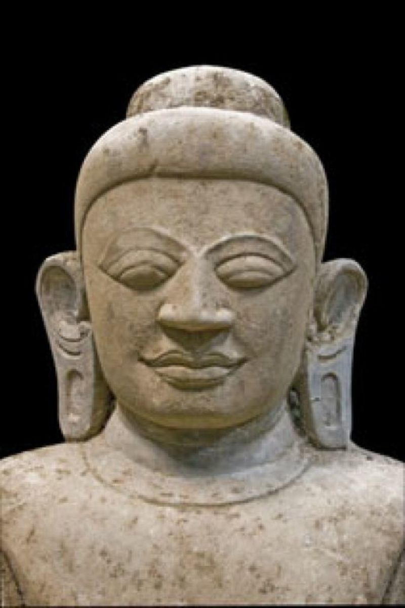 "A depiction of ""the Enlightened One"" with gauged earlobes."