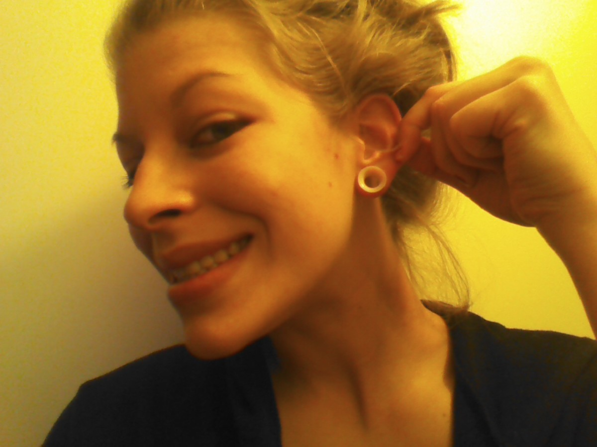 Here are what my gauges look like after stretching!