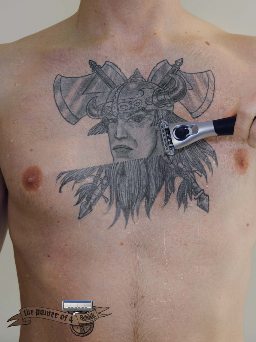 Although it may look strange at first glance, it could be a great idea to tattoo your face or someone close to you as the real Viking beneath all this beard.