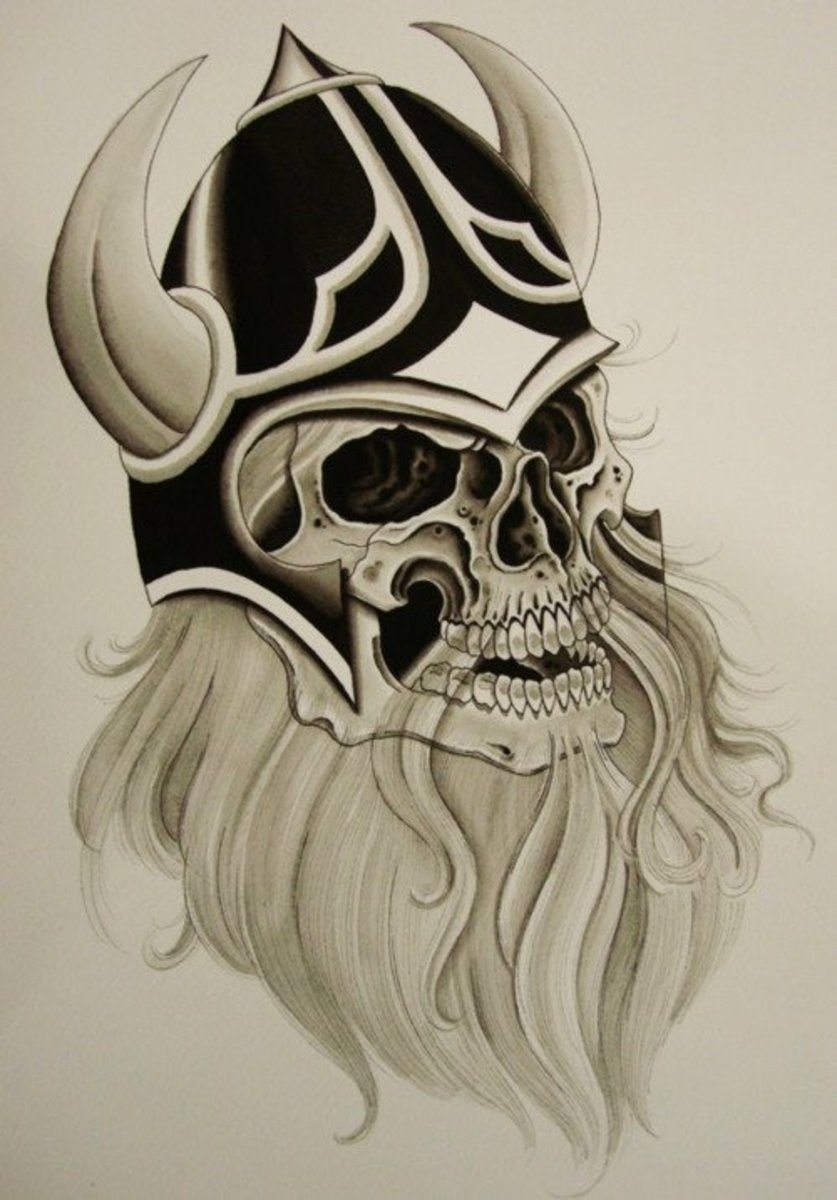 Check out this Viking skull stencil. Thinking about using light shades of blue in order to give it a ghostly look.