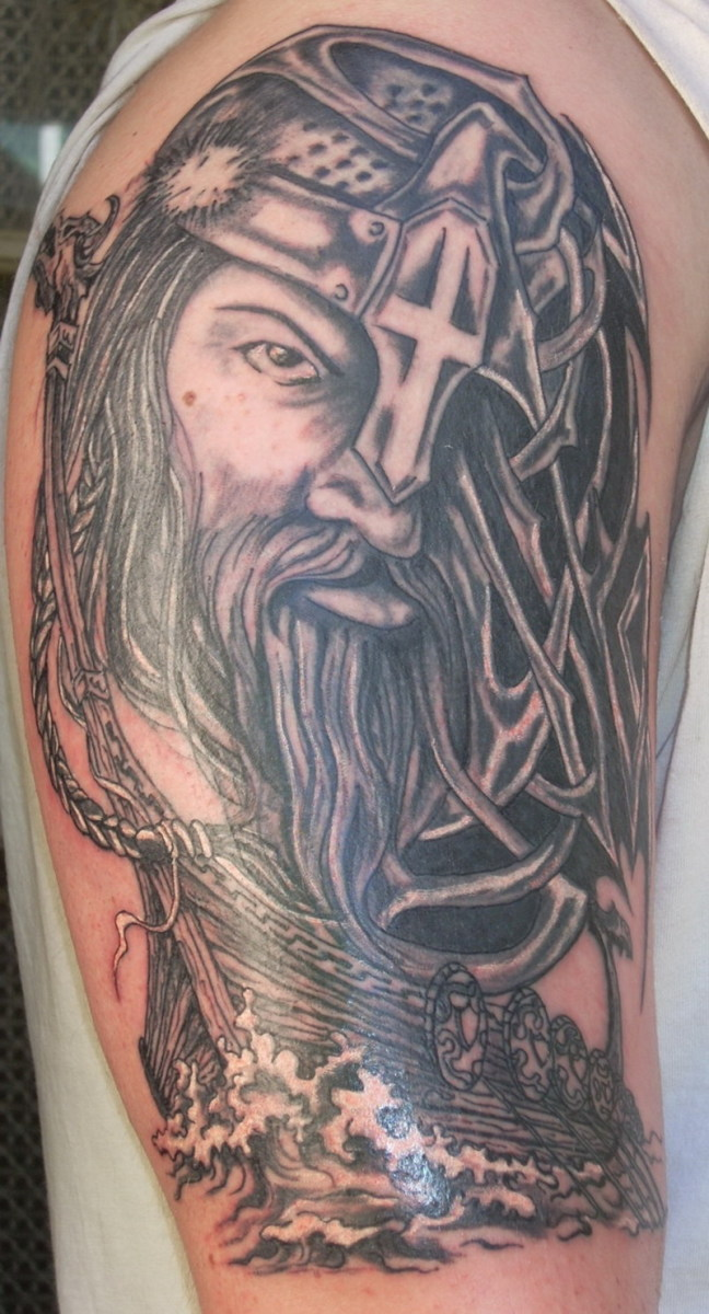A one eyed viking definitely adds mystery to a Viking's tattoo. Combine it right with a Viking warship and you've got a spectacular tattoo.