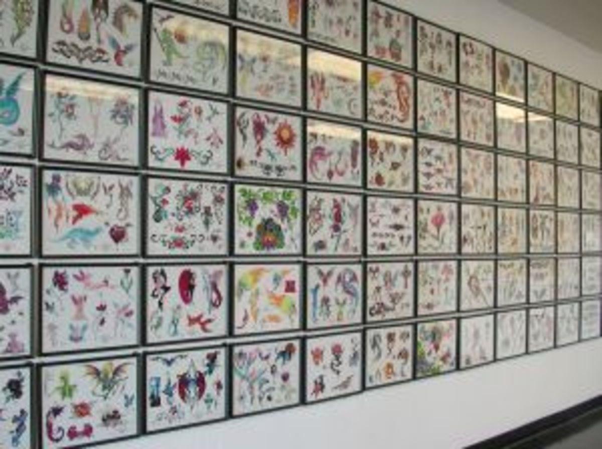 Tattoo Flash Art on the Wall of a Tattoo Shop