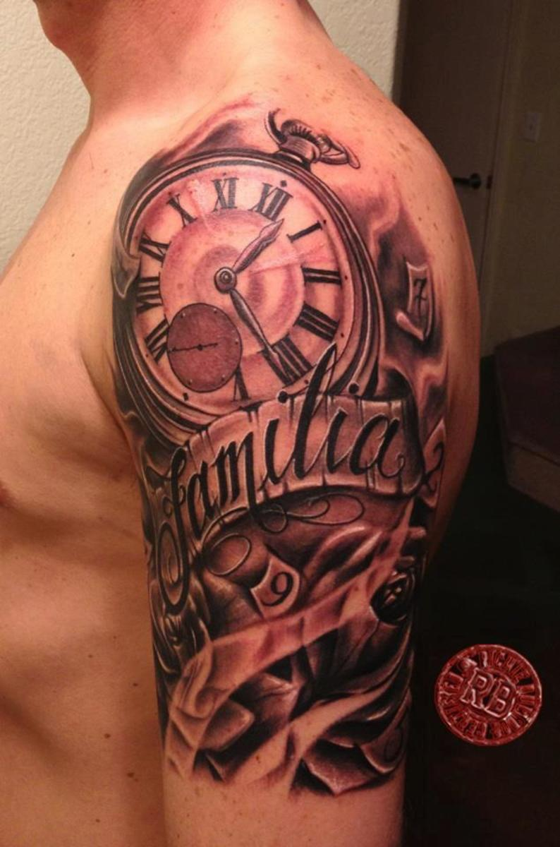 This is a partial sleeve with Money Tattoo Stencil
