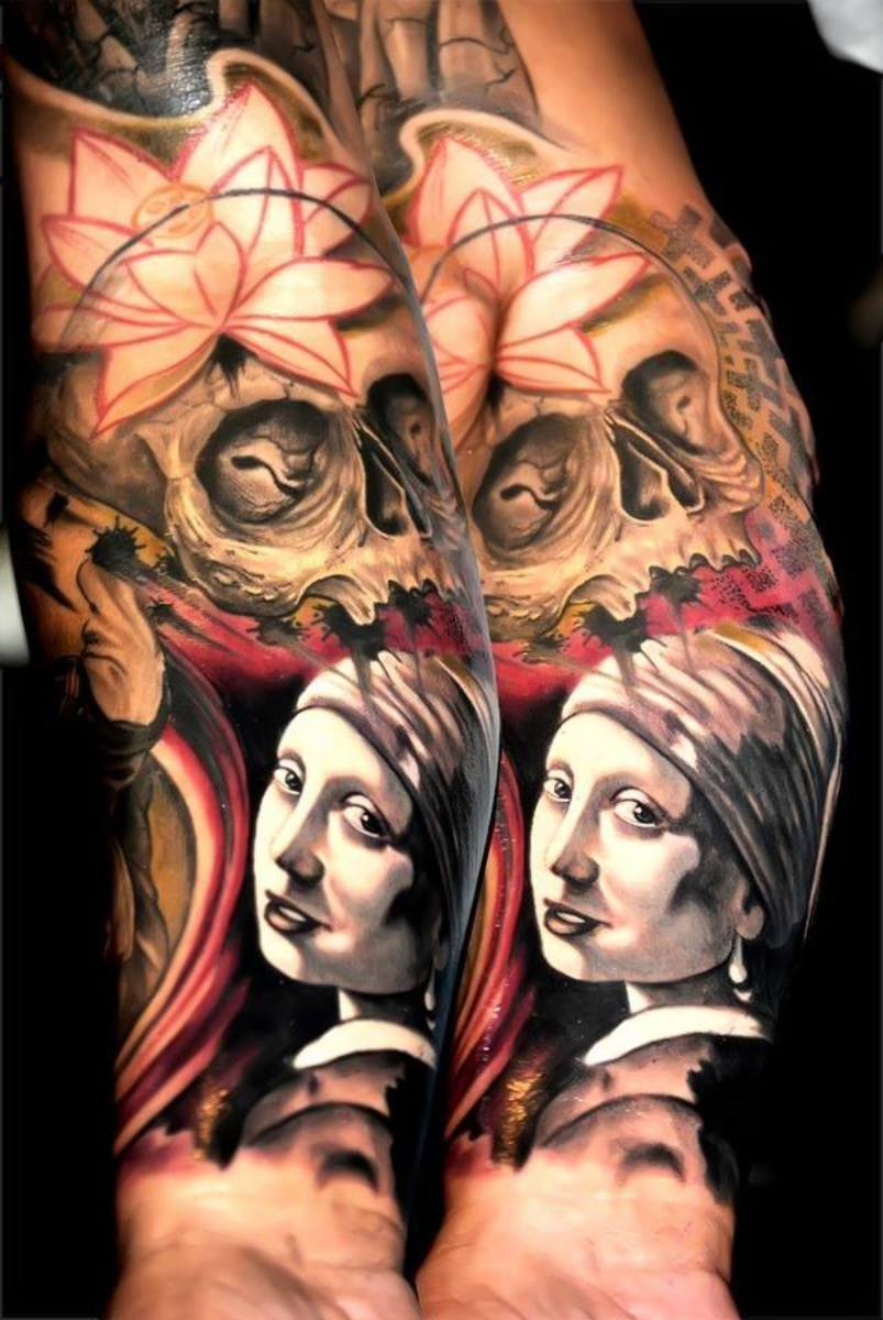Skull tattoo on female