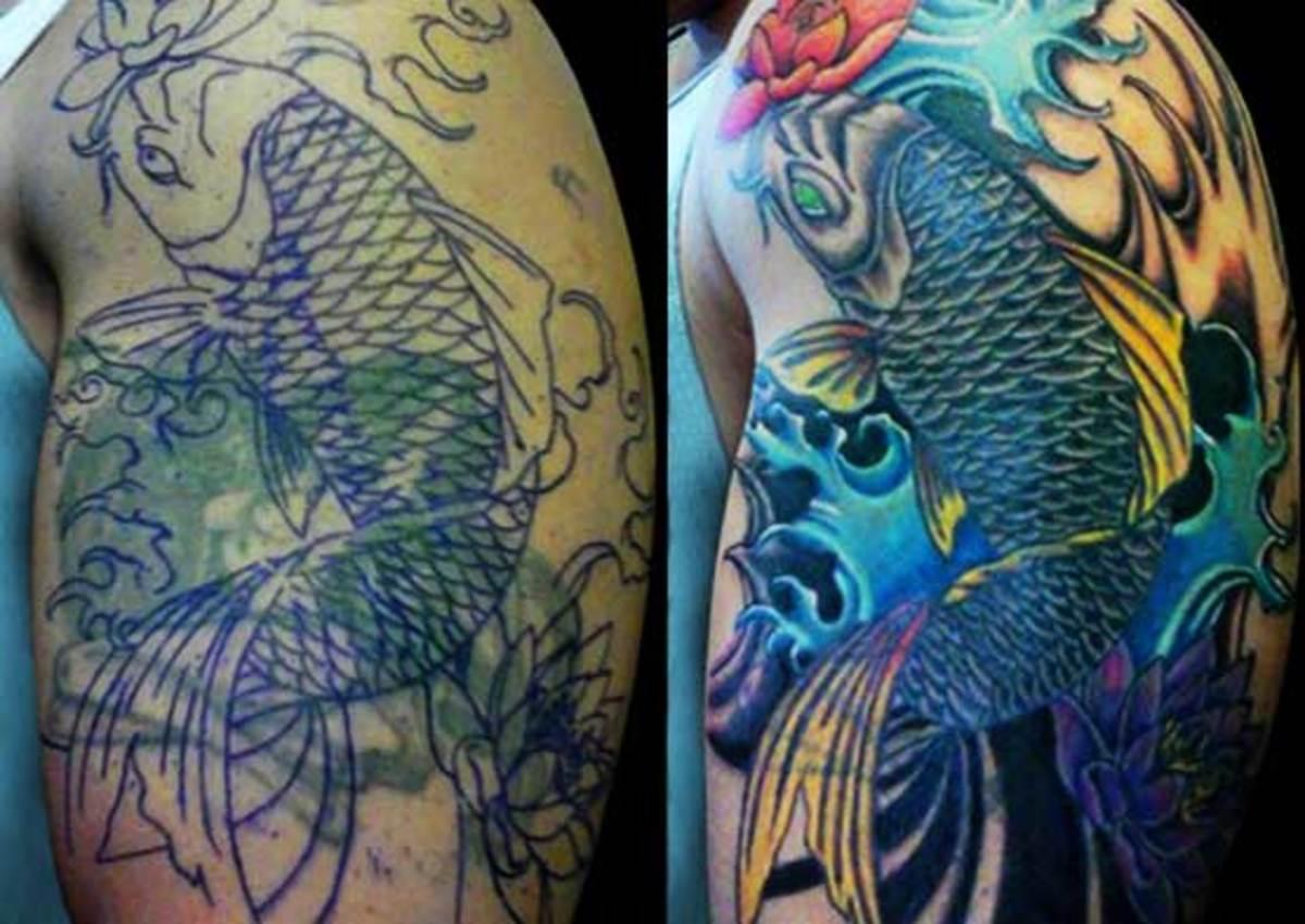 Koi tattoo cover-up