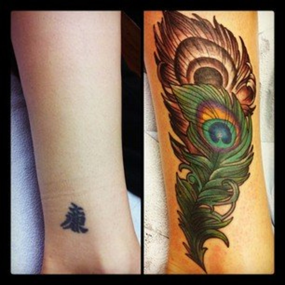 Often a cover-up tattoo will be much larger than the piece that is being hidden.