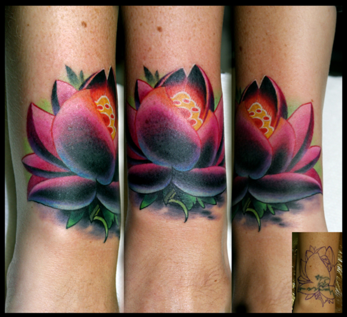 Amazing use of colours to cover an old tattoo.