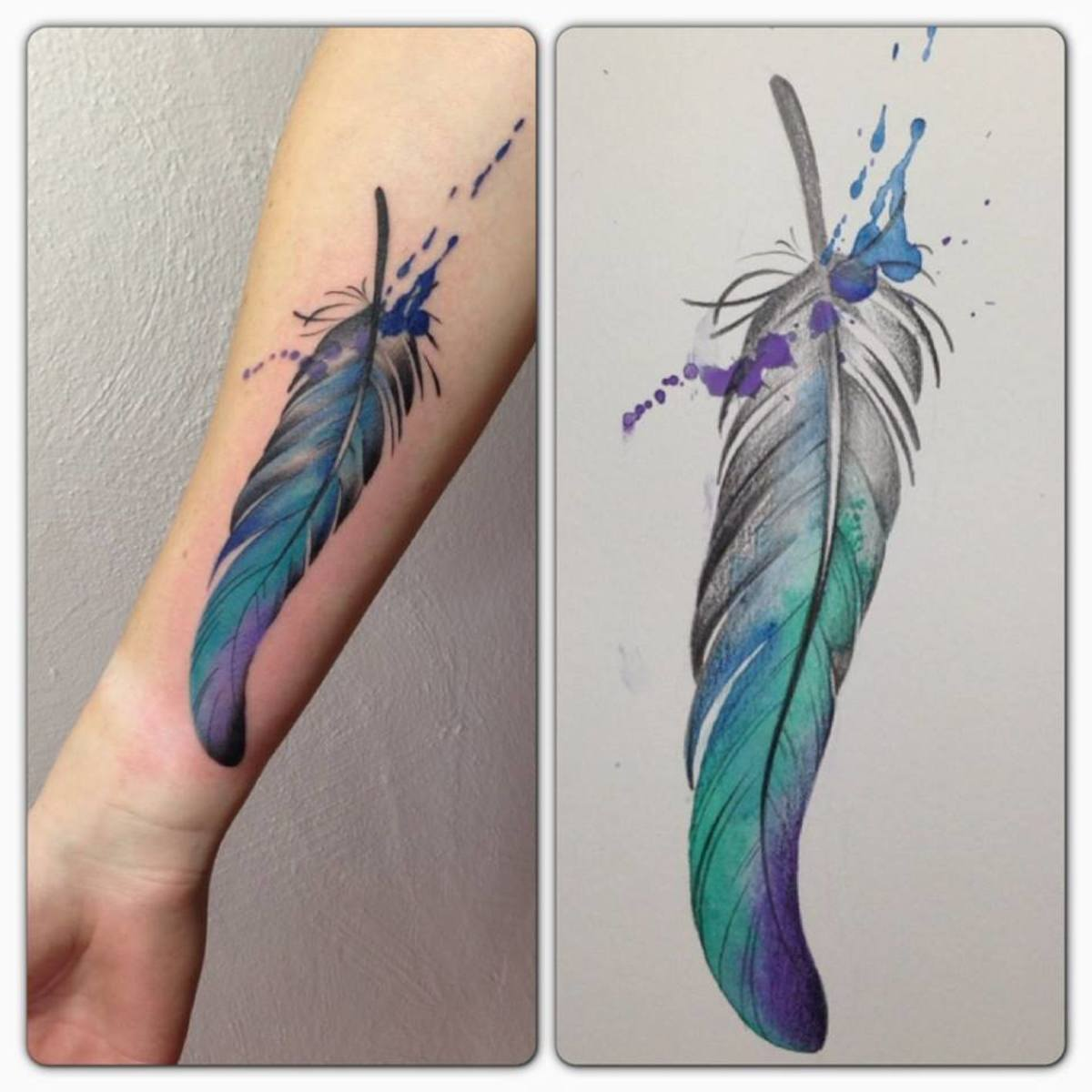 Feather tattoo.