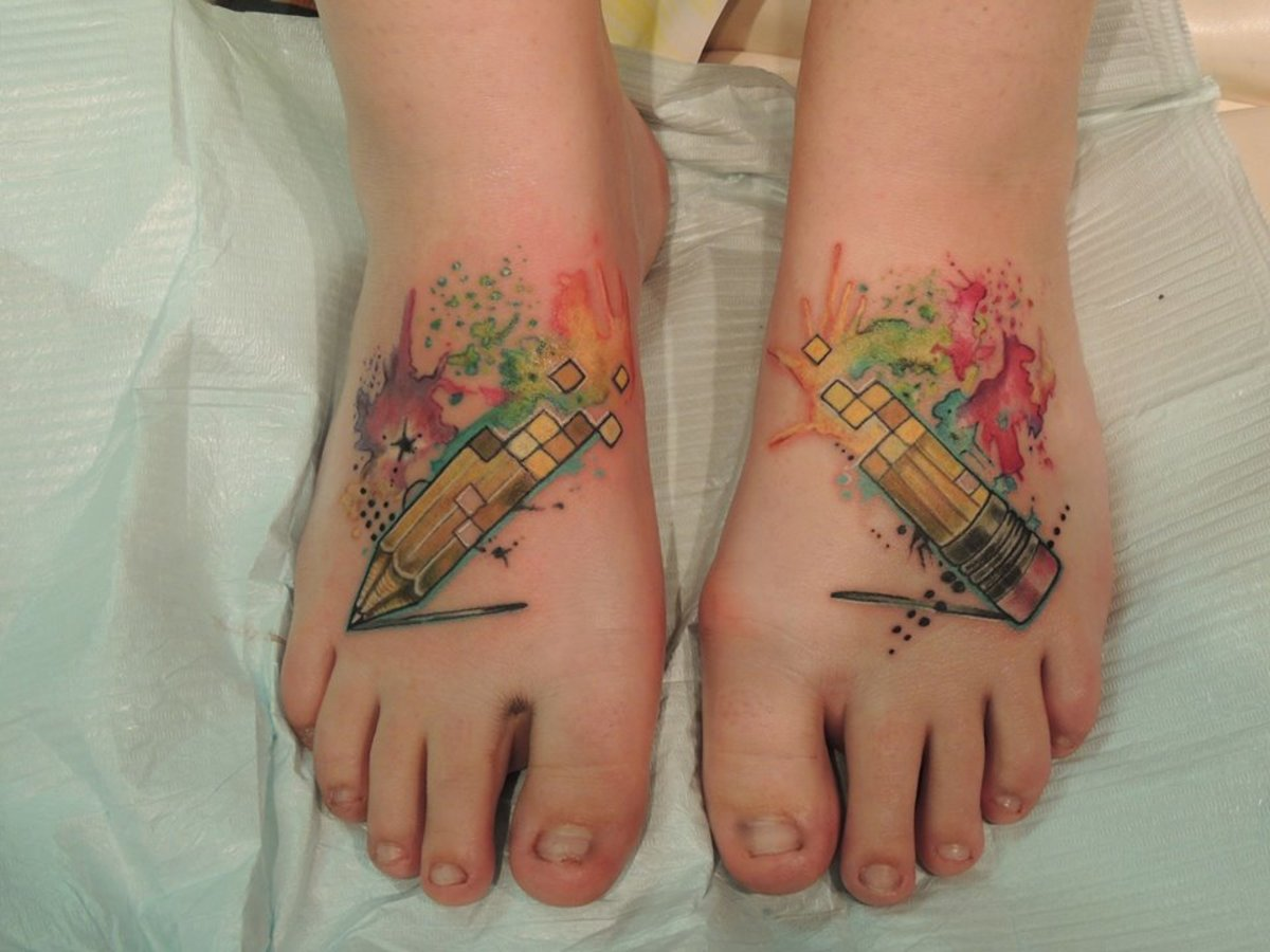 Unique foot tattoos.