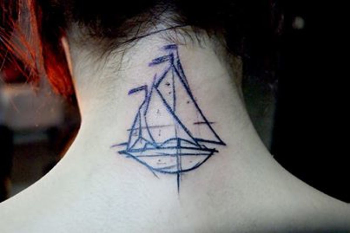 Ship tattoo on neck.