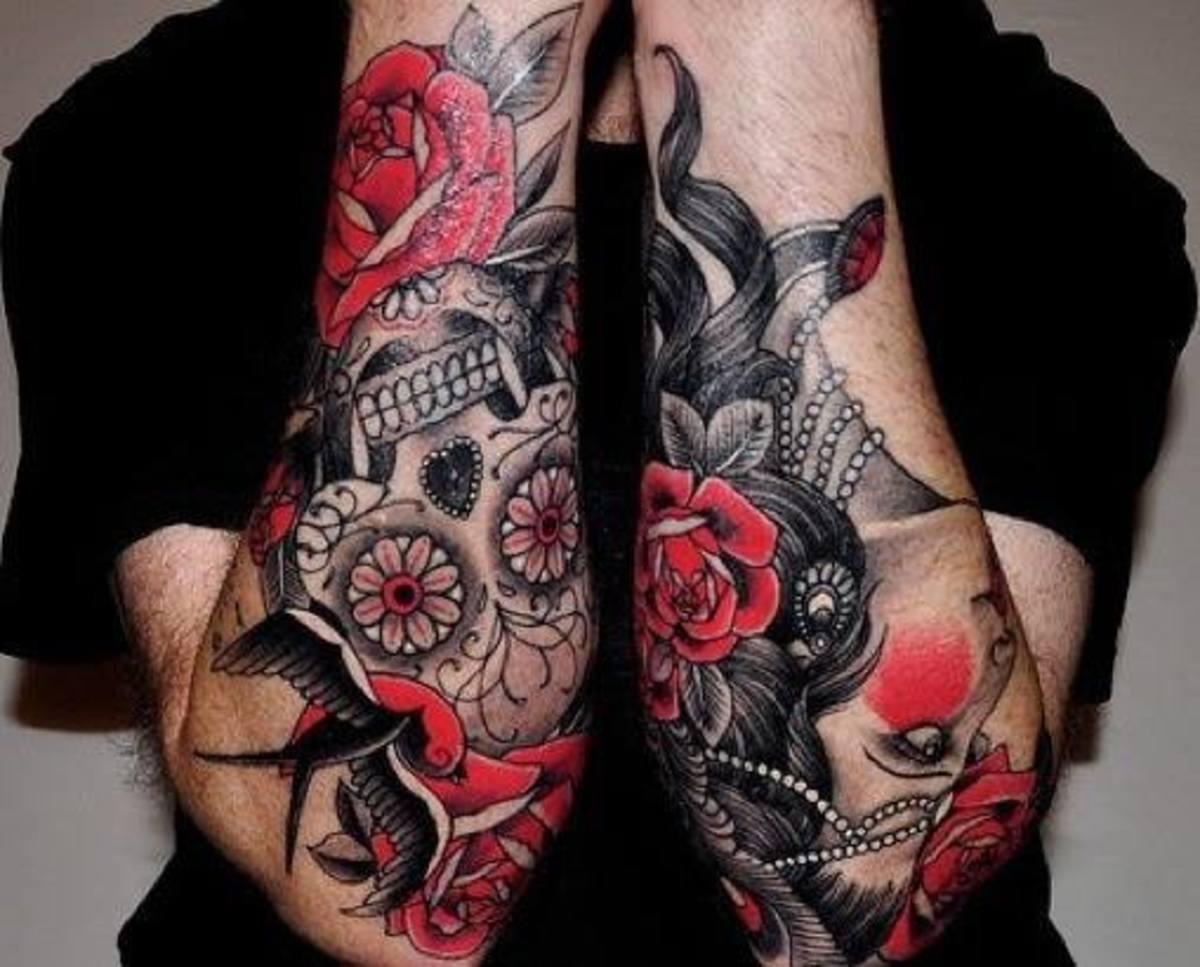Old school, sugar skull tattoo