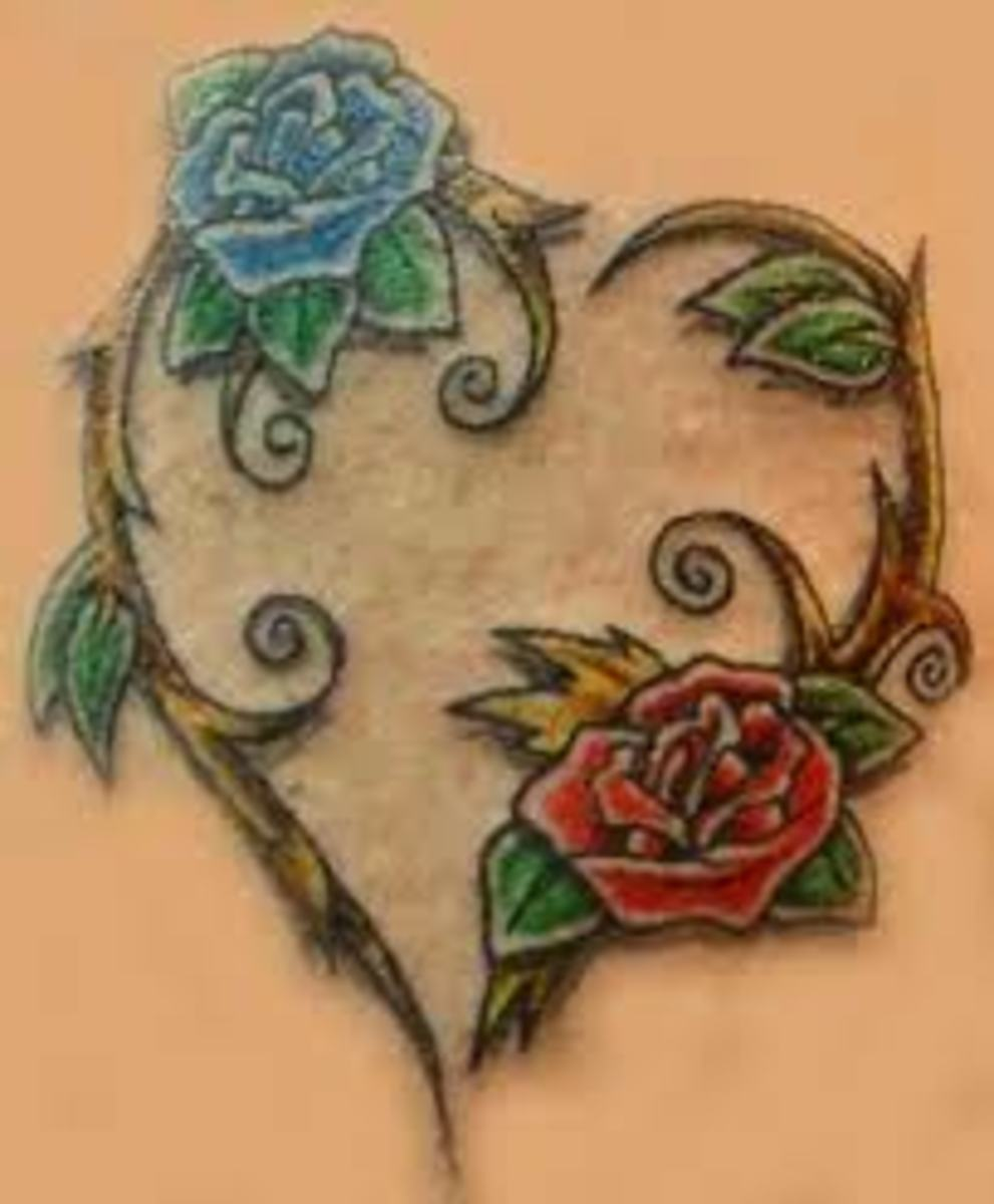 Heart And Rose Tattoos And Designs-Heart And Rose Tattoo