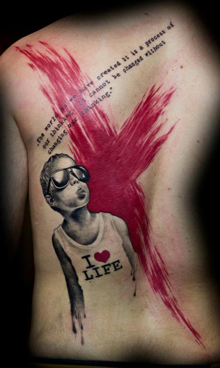 Tattoo quote and picture on male back