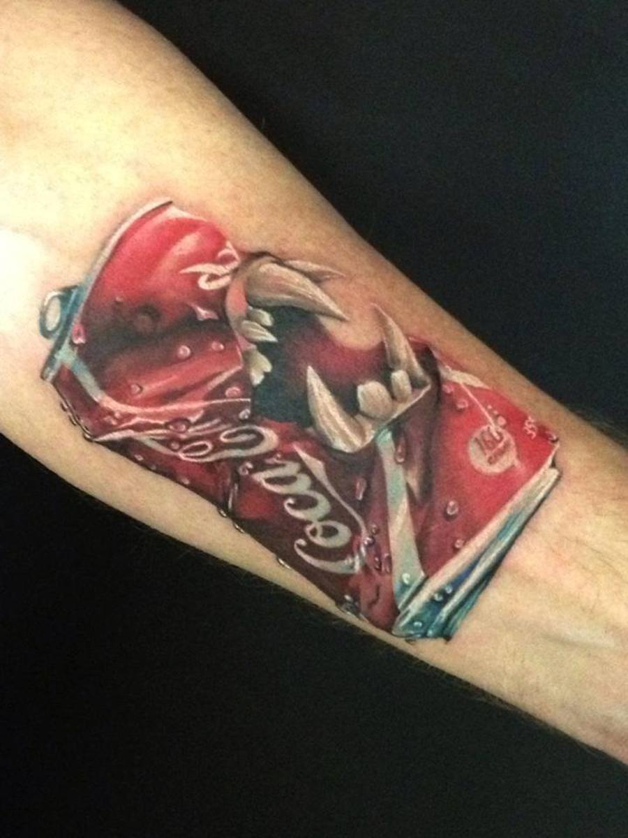 Coke can tattoo approx. 4-5 hours to complete.