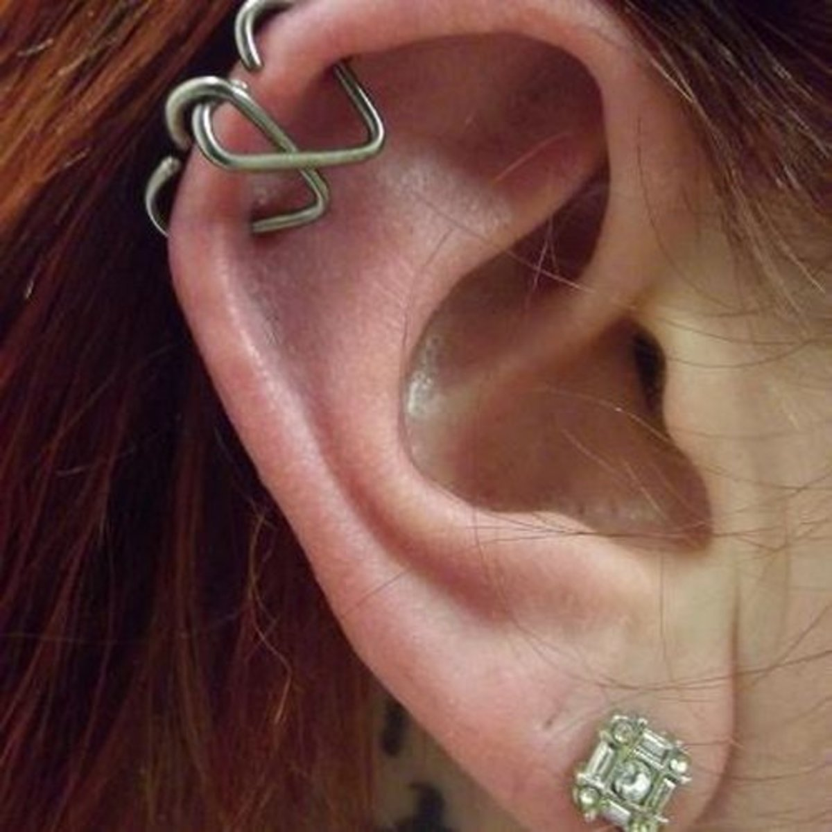 Double helix with hearts.