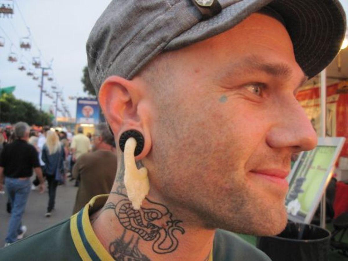 stretched ear lobe piercing