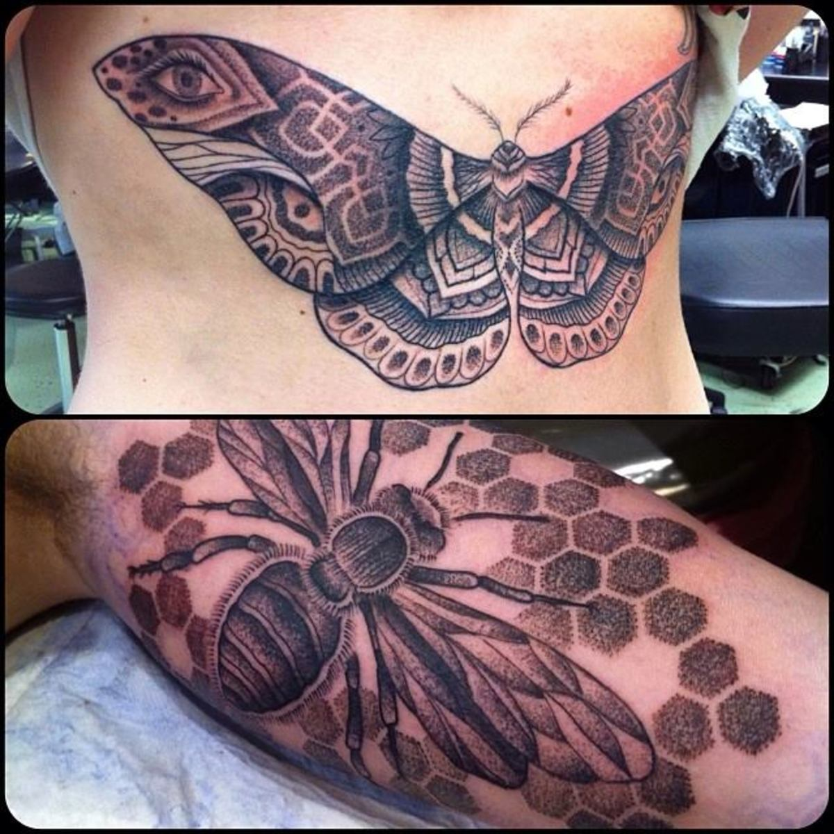 Dot tattoo. Fly and moth tattoo