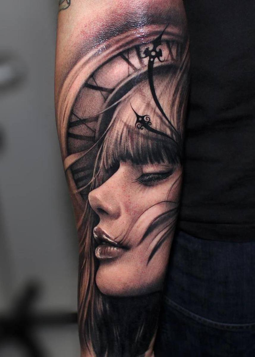Arm tattoo in black and white