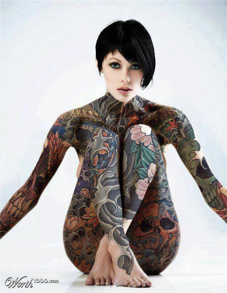 Body suit on lady, Inked women. Tattoo aftercare helps keep these looking good.