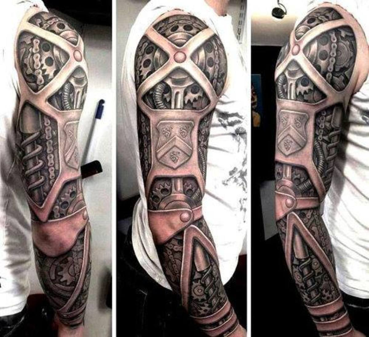Biomechanic arm tattoo