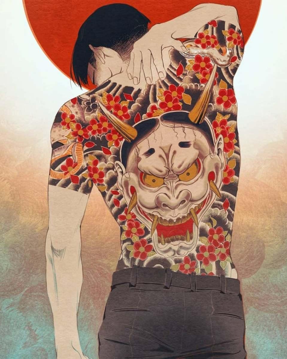 "White-faced Hannya tattoo on Majima Goro (from the game ""Yakuza"")"