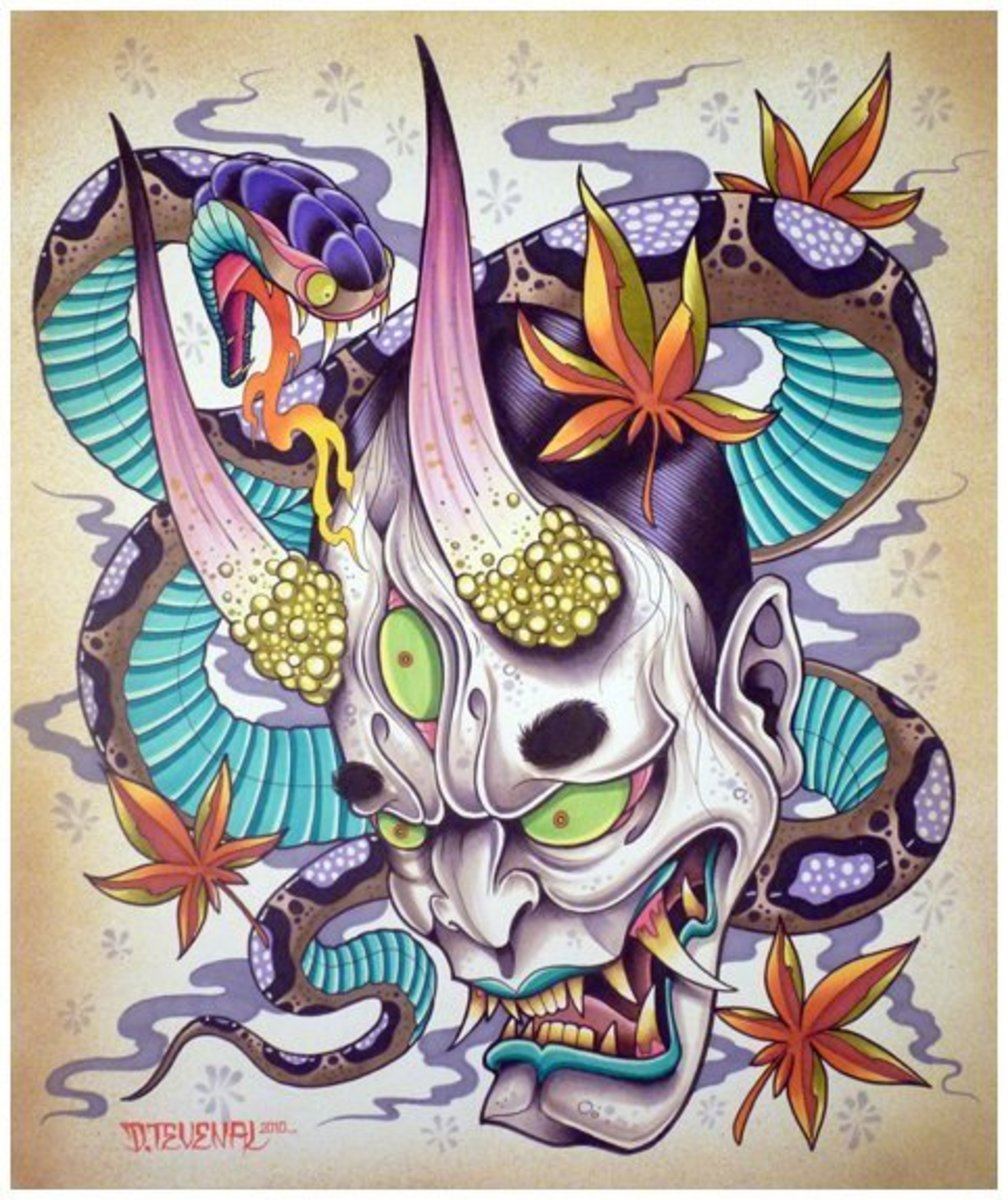 The modern Hannya uses colors like turquoise, lime green, purple, and pinks. This particular design is a modern interpretation of a Hannya (looks like a Dracula-meets-Hellboy).