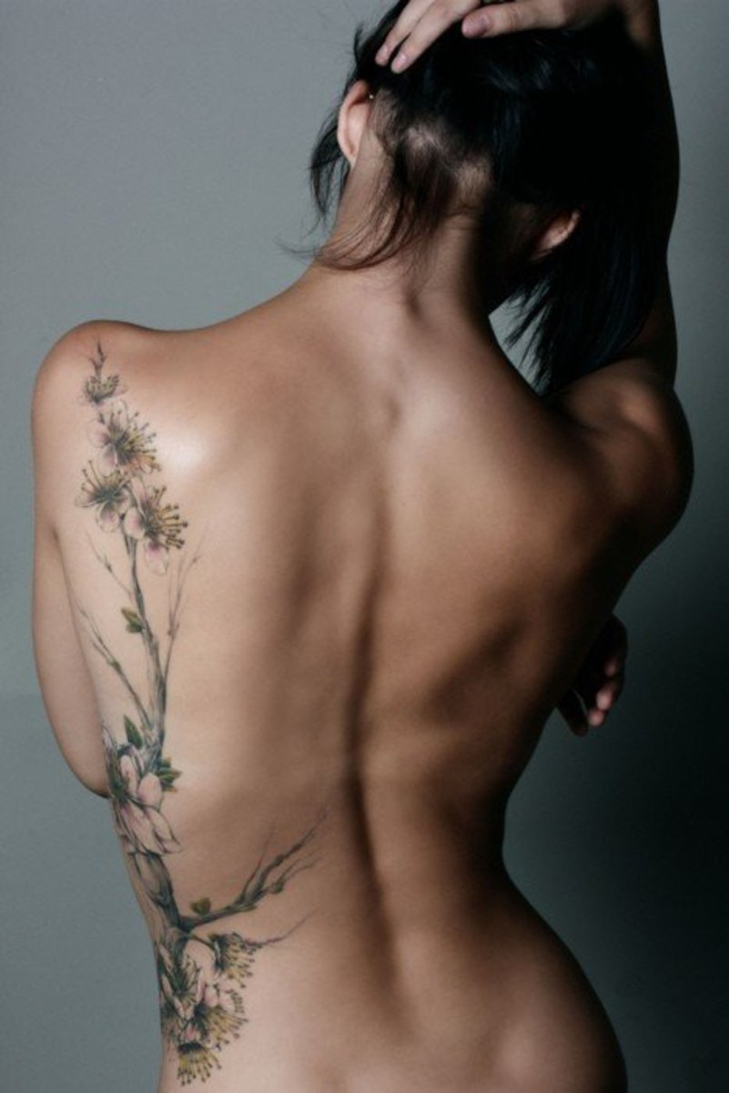 Rib and Back Floral Tattoo