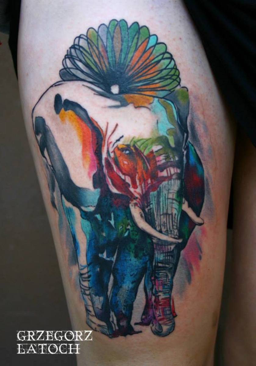 Elephant arm tattoo