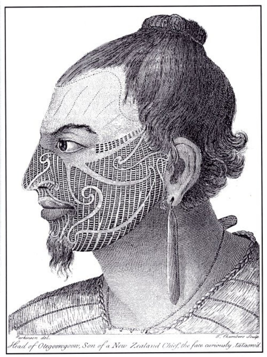 Sydney Parkinson's classic illustration of a tattooed Maori from Cook's first voyage