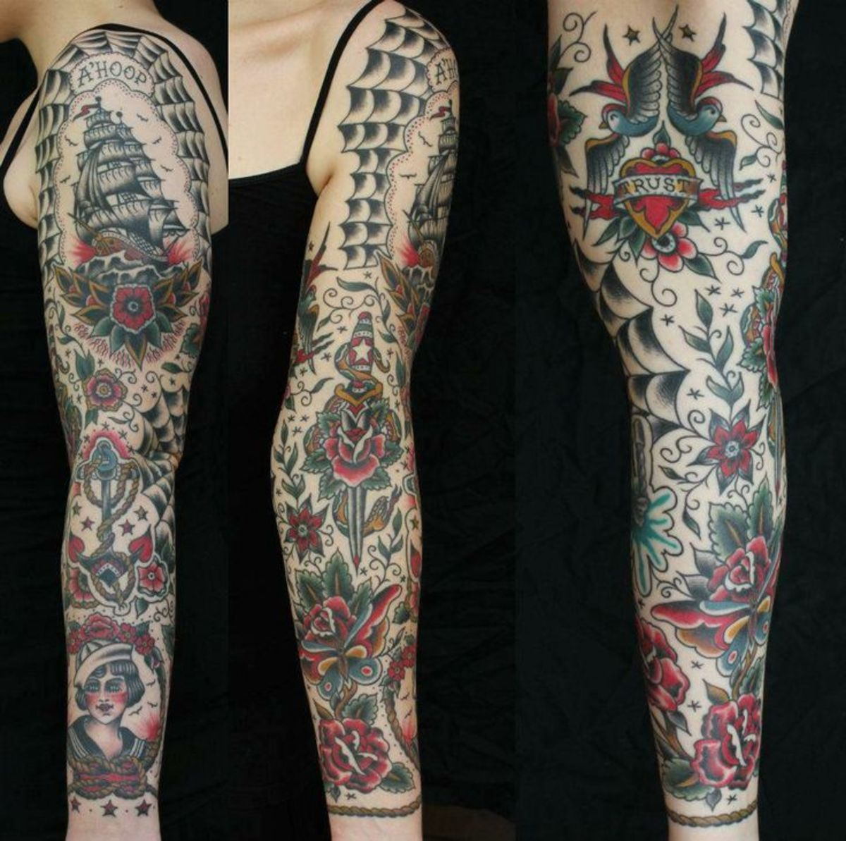 Example American Tattoo Sleeve, of pins and stars, and spiderwebs; American Traditional tattoos tend to require fillers in between the actual tattoos