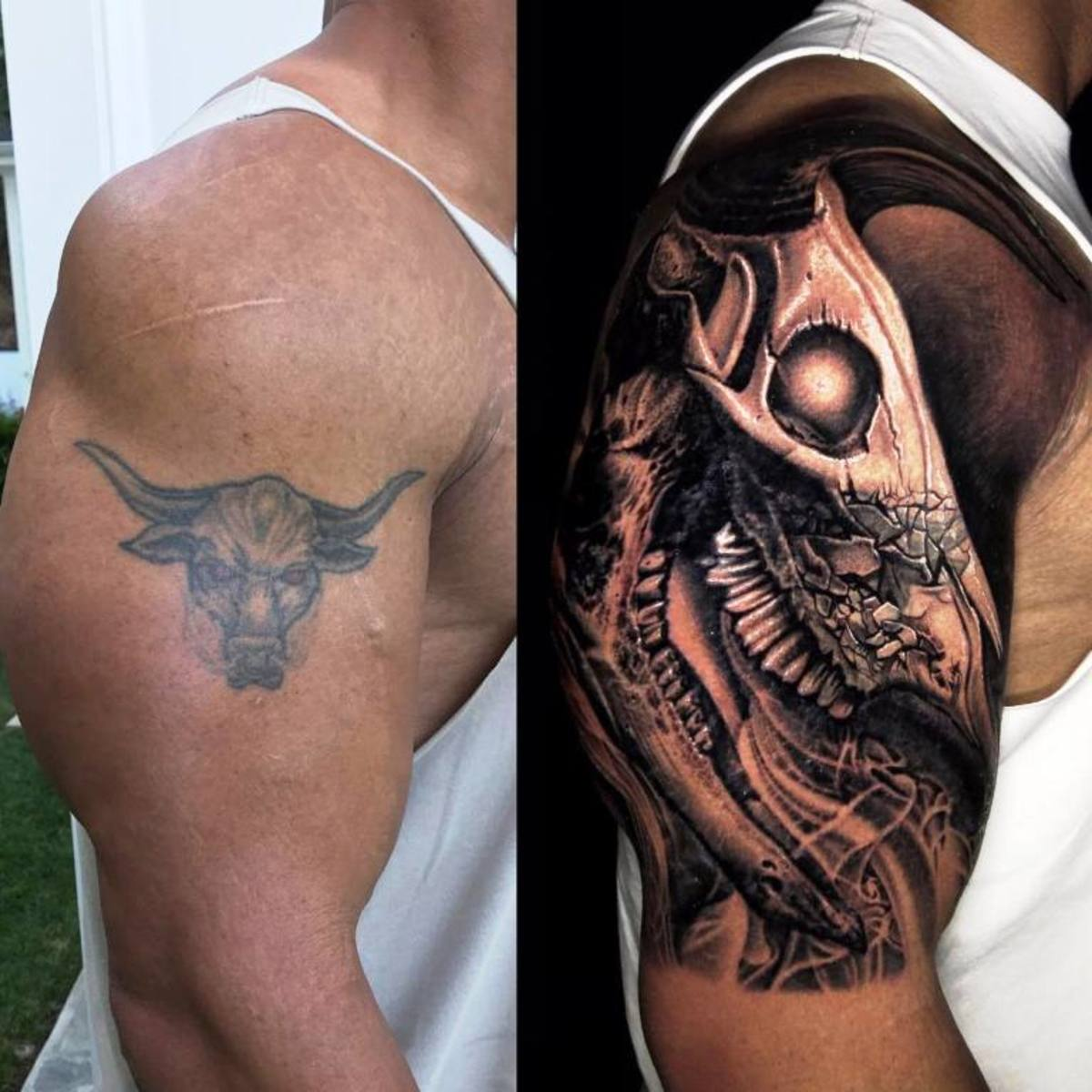 "The Transformation of Dwayne ""The Rock"" Johnson's Bull Tattoo Cover-Up"