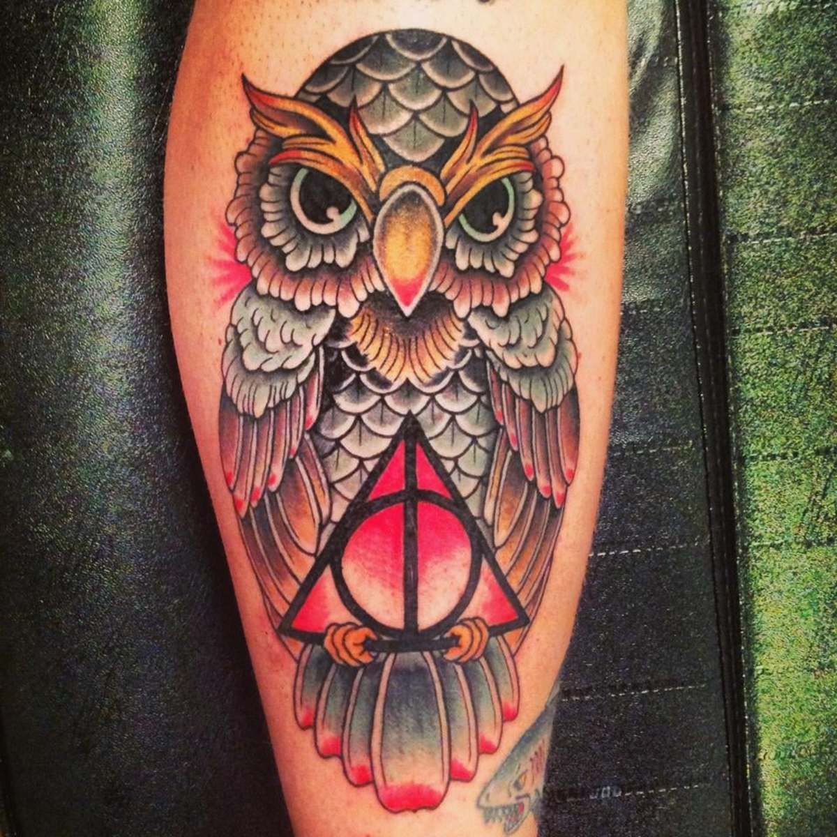 Owl and Deathly Hallows tattoo