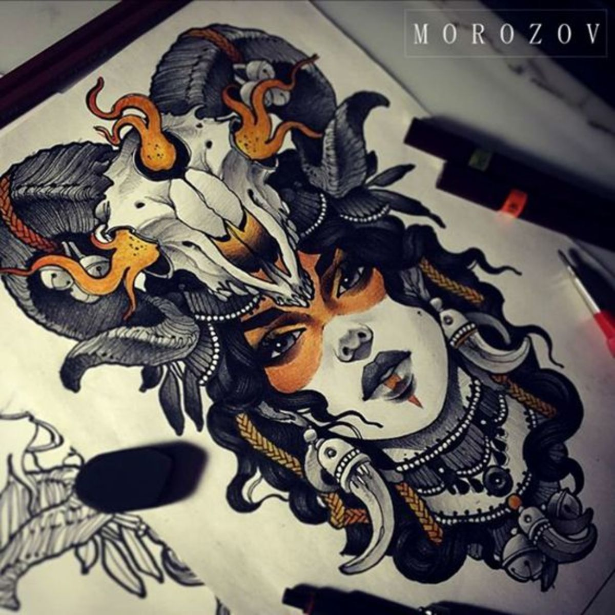 Aries tattoo for woman by Vitaly Morozov