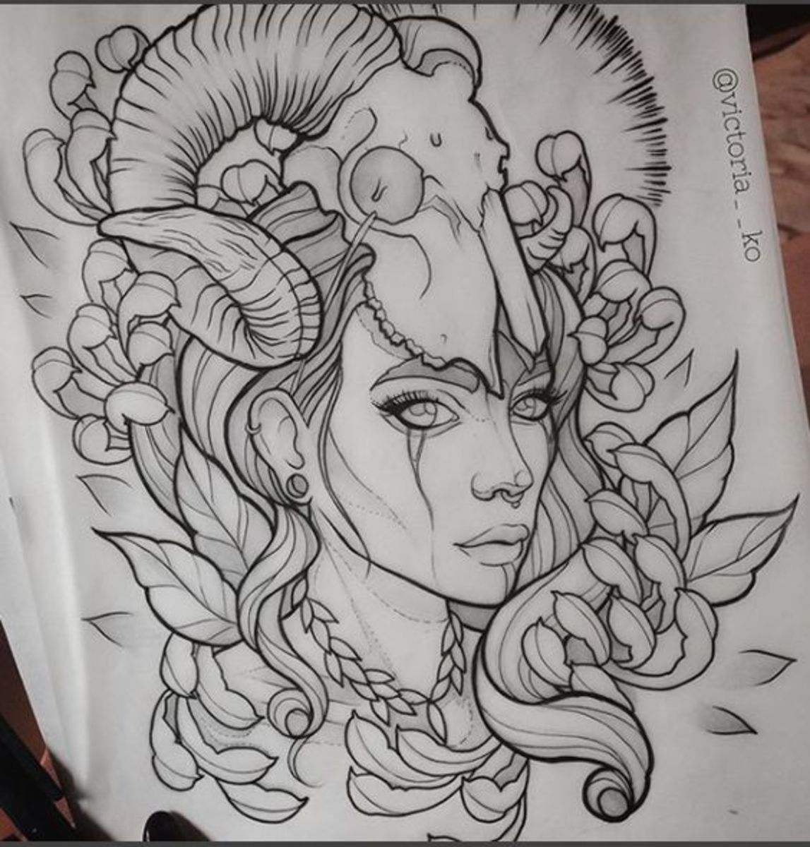 Neo traditional Aries ram tattoo sketch by victoria__ko on IG