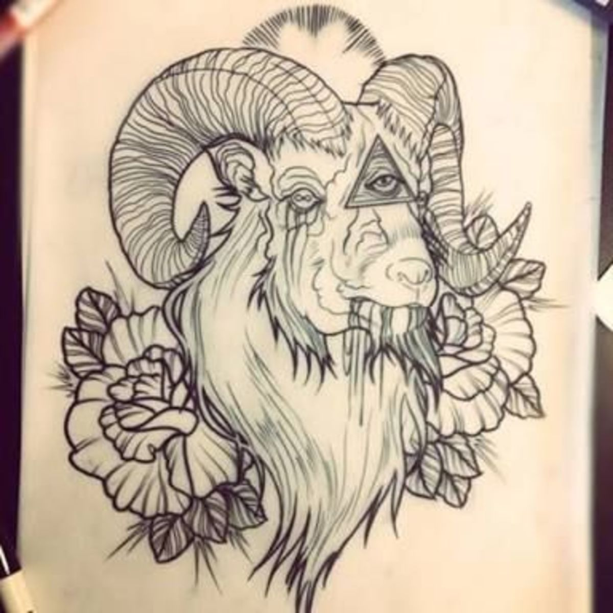 All seeing eye Aries tattoo sketch.