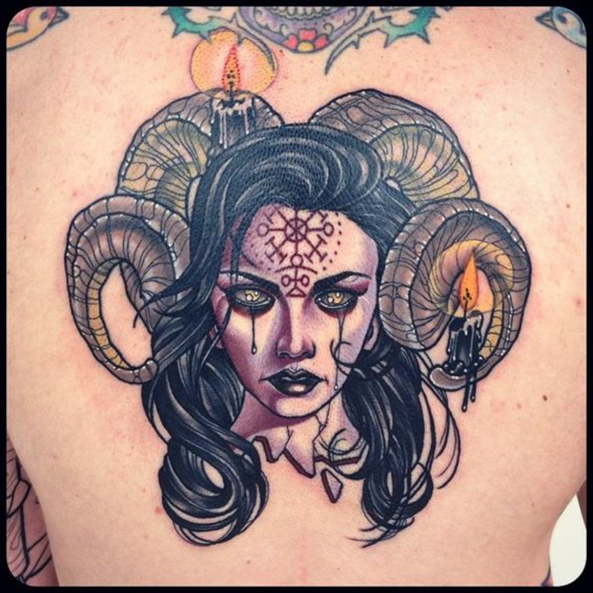 Devil Ram lady tattoo by Kat Abdy