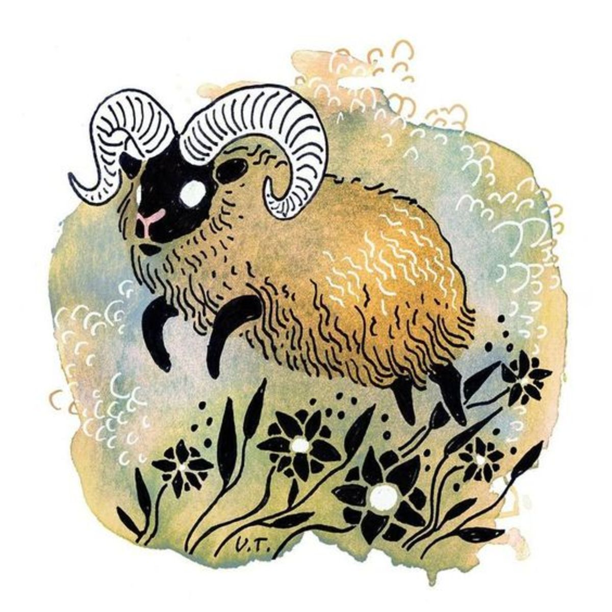 Cute Aries tattoo illustration by Ulla Thynell