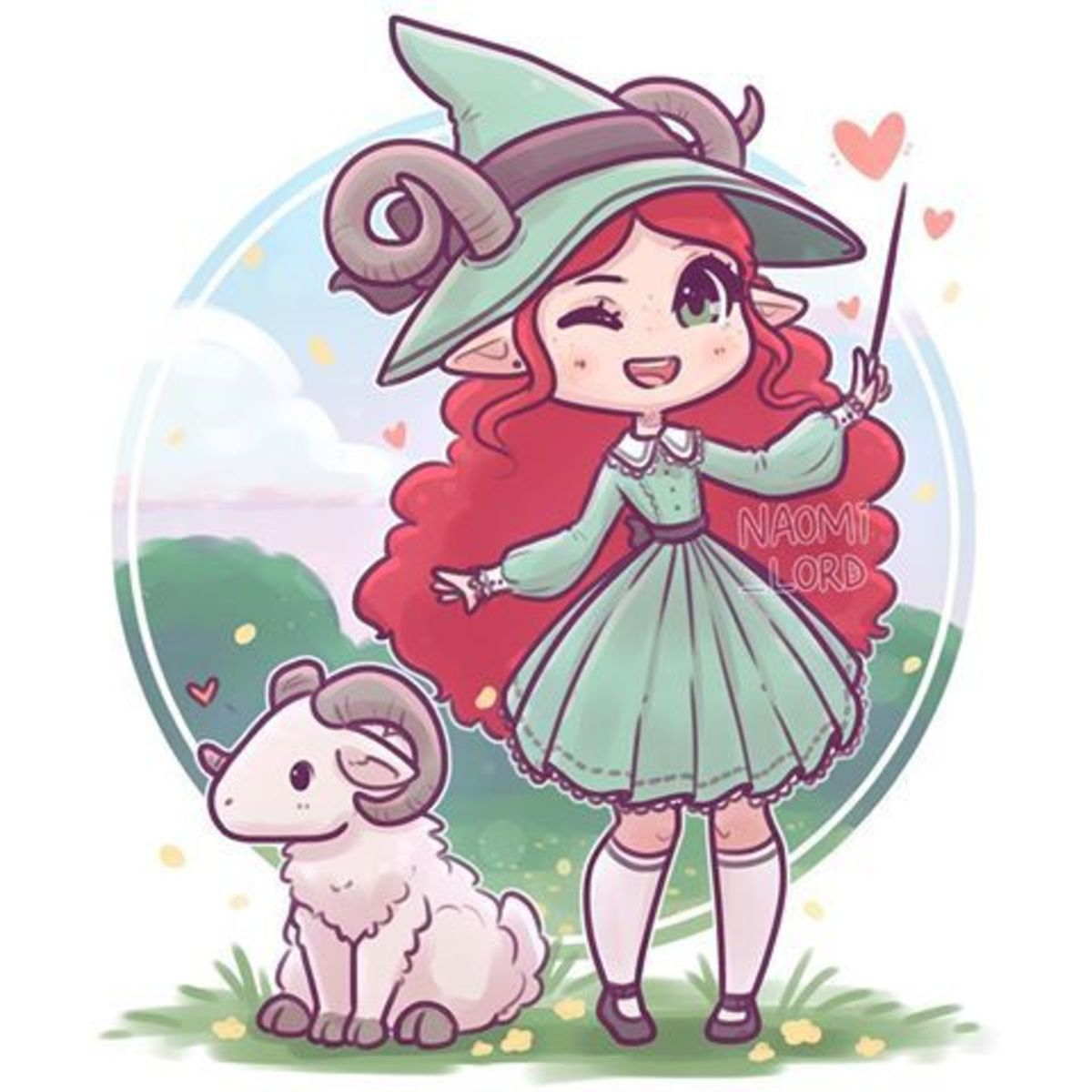 Cute Aries witch by Naomi Lord