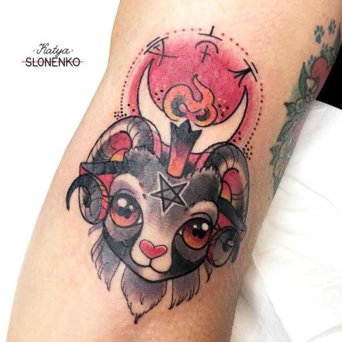 Cute Aries occult tattoo by Katya Slonenko